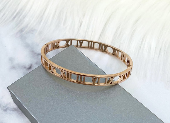 Rose Gold Numeral Bangle 7mm