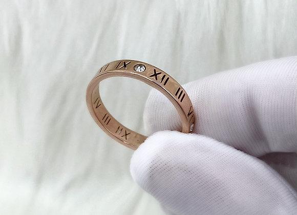Numeral Diamante Rose Gold Ring