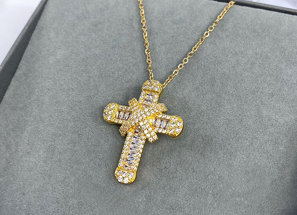 Gold Shine Cross Necklace