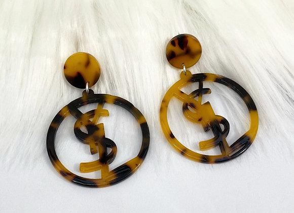 Torteshell Letter Earrings