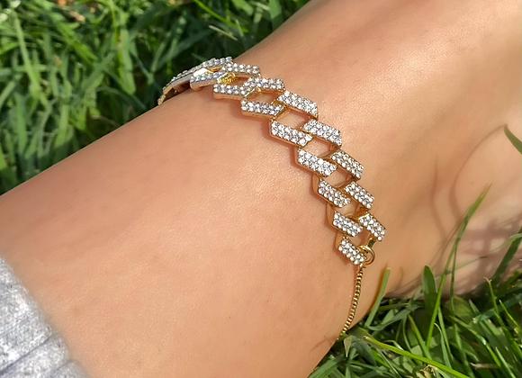 Gold Link Diamante Anklet