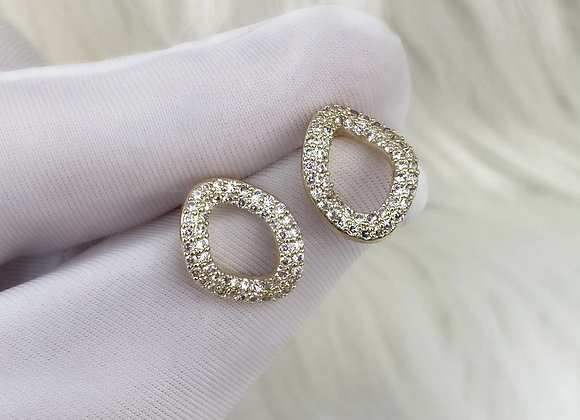 Gold Curve Stud Earrings