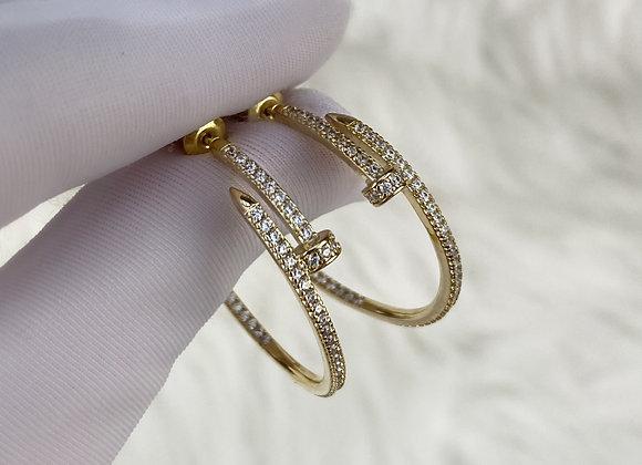 Gold Plated Nail Hoop Earrings