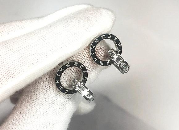 Silver Numeral Stud Earrings