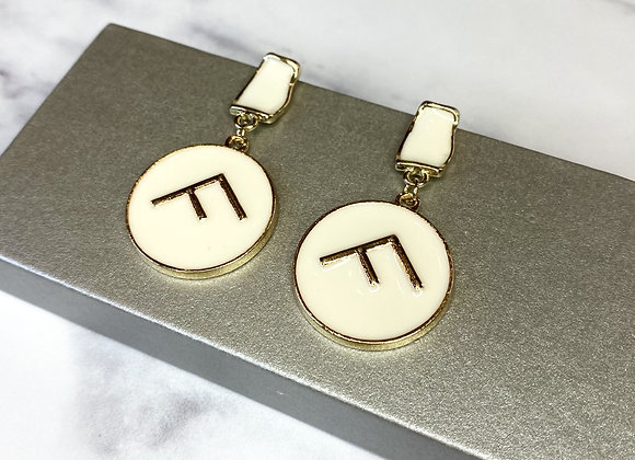 Cream F Drop Down Earrings