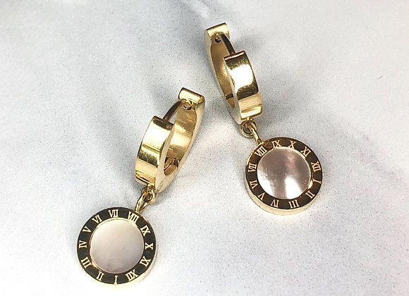 Gold Numeral Pearl Earrings