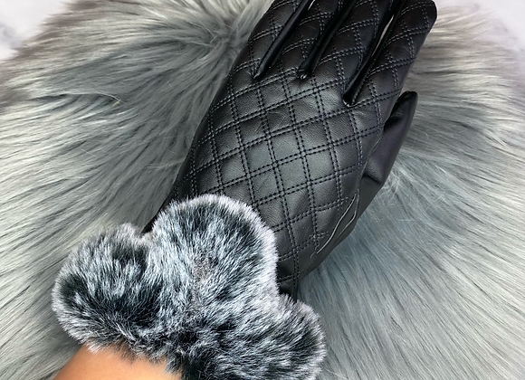Quilted Faux Fur Gloves