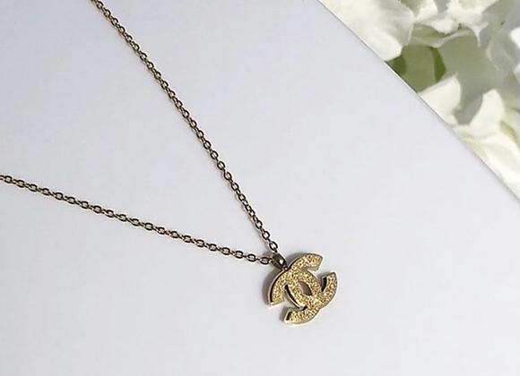 Gold Glitter Pendant Necklace