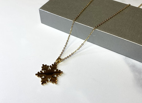 Gold Snowflake Cut Necklace