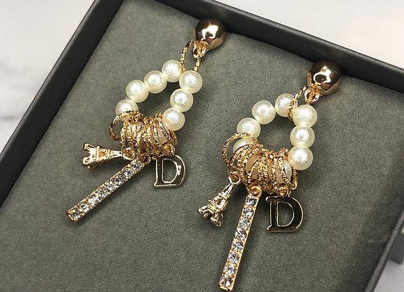 Paris Charm 'D' Earrings