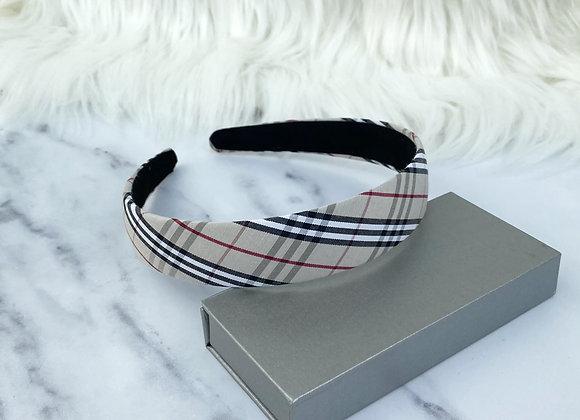 Check Beige Flat Headband