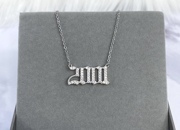 Birth Year Silver Stone Necklace