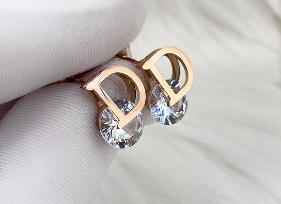 D Rose Gold Stud Earrings
