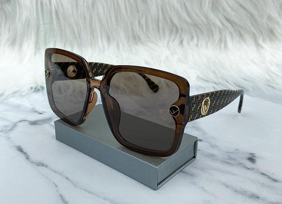 Oversized Brown F Print Sunglasses