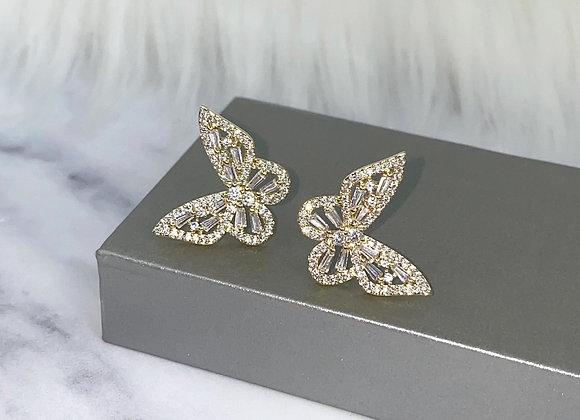 Gold Sparkle Butterfly Earrings