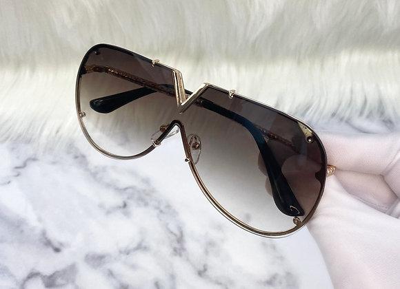 Brown Frameless V Sunglasses