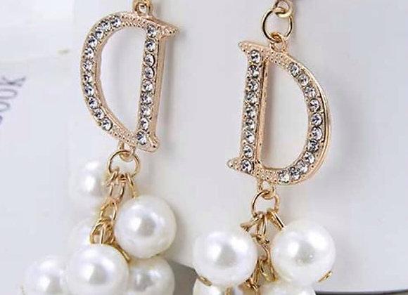 'D' Pearl Cluster Earrings