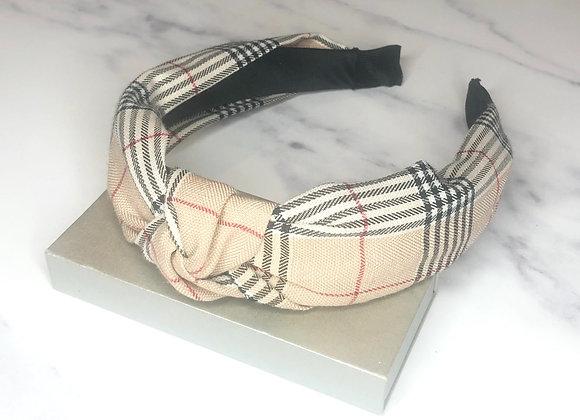 Beige Checked Headband