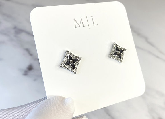 Diamond Silver Sparkle Studs