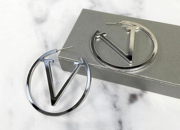 Silver V Hoop