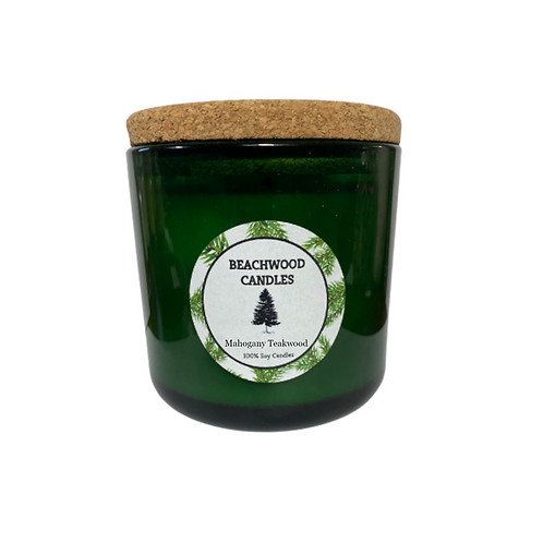 Mahogany Teakwood Soy Wax Candles - 16oz Recycled Glass Jar