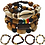 Thumbnail: 4 Pcs His/Hers Wooden Beaded Bracelets. Stackable Ethnic Tribal African Pattern.