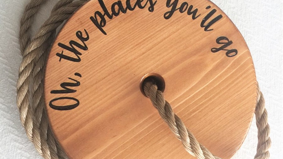 Dr. Seuss Oh the Places You'll Go Wooden Tree Swing