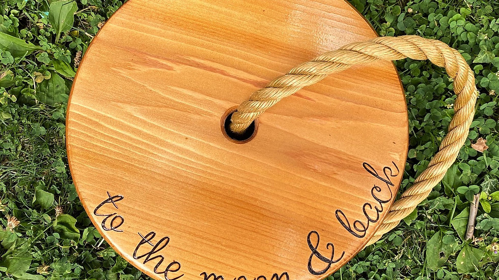 To the Moon and Back Wooden Tree Swing