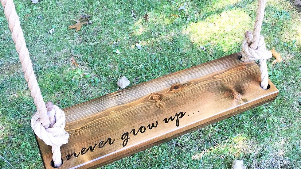 Never Grow Up Wooden Tree Swing