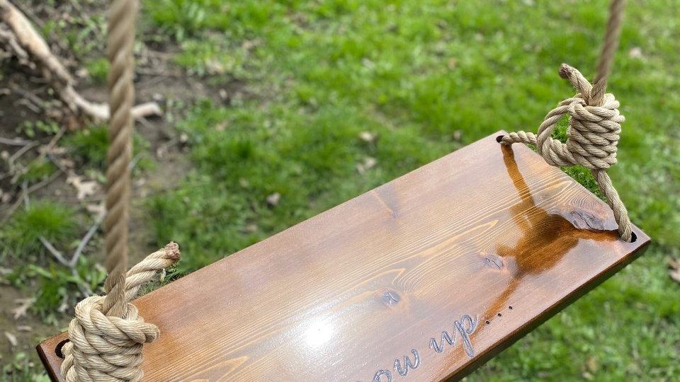 Never Grow Up Rectangle Timber Swing-Oversized