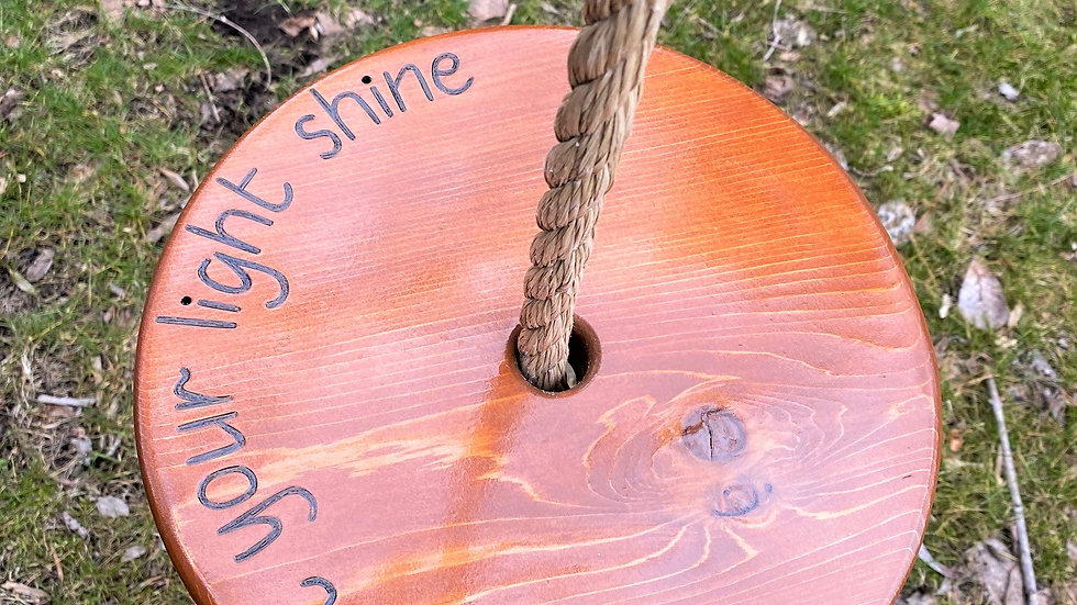 Let Your Light Shine Round Timber Swing