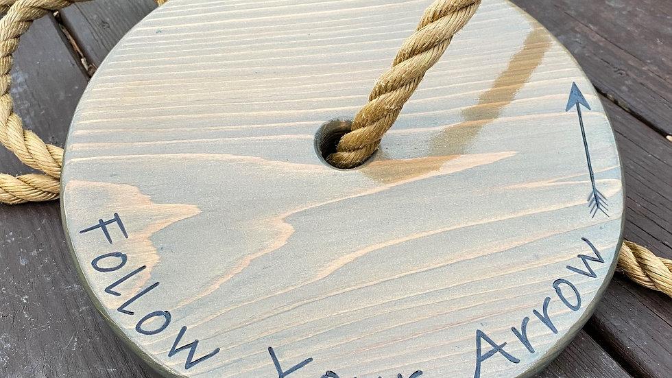 Follow Your Arrow Gray Wood Swing