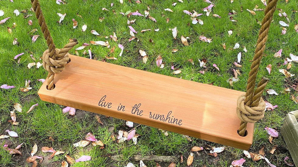 Live in the Sunshine Rectangle Timber Swing