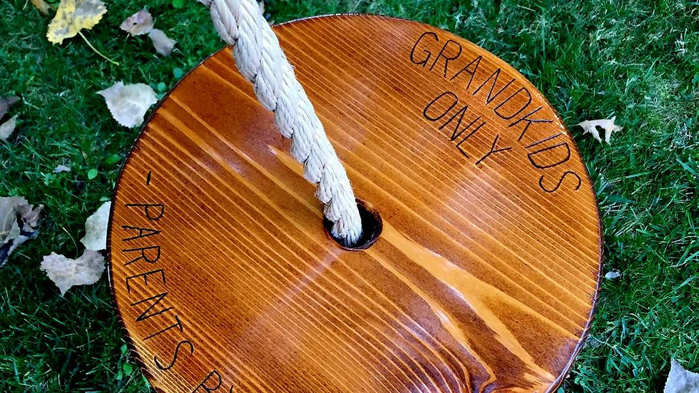 Grandkids Only, Parents by Appointment Wooden Tree Swing