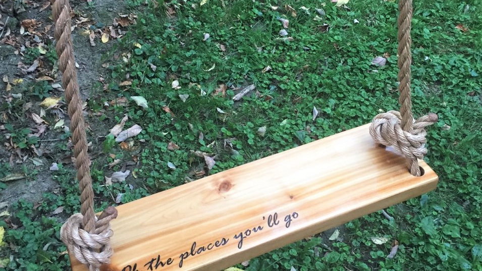 Dr. Seuss Oh the Places You'll Go Rectangle Cedar Swing