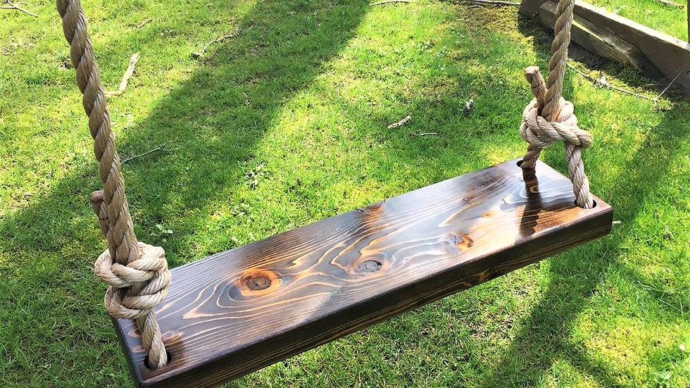 Dark wood rectangle cedar swing