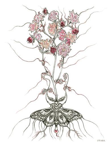"""Flowering Planchette Moth"" Mixed media"