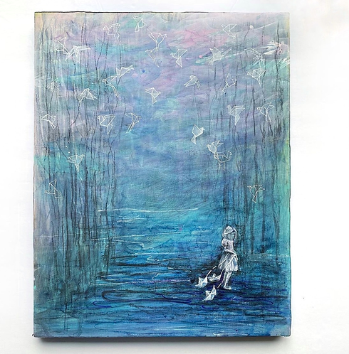 """Under The Night Moon"" Original Mixed-Media Painting"