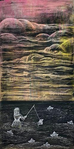 """Gone Fishing"" Original Mixed-Media Painting"