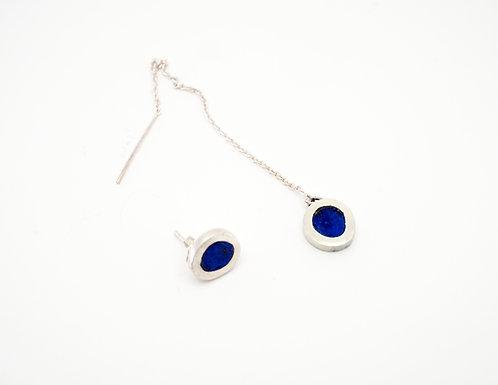 Circle Earrings = lapis (asymmetrical)  / KSJ - Kendra Studio Jewellery