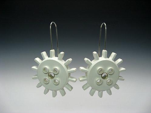 White Lego Gear Earrings / Alexandra Chaney