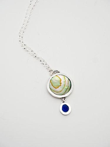Circle Drop Pendant = abalone shell & lapis / KSJ - Kendra Studio Jewel