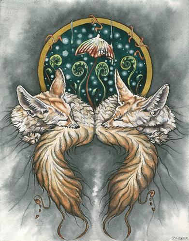 """""""Autumn Fennec Foxes"""" Mixed media"""