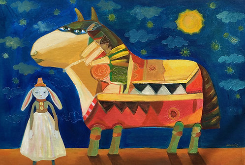 """Bull of Pucara"" Acrylic Painting"