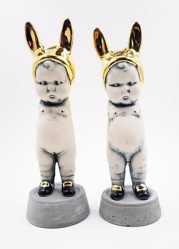 Golden TWINS BunBun Sculpture Figure | Artist: Katt Splat