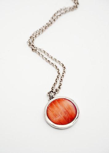 Circle Pendant = red spiny oyster shell / KSJ - Kendra Studio Jewellery
