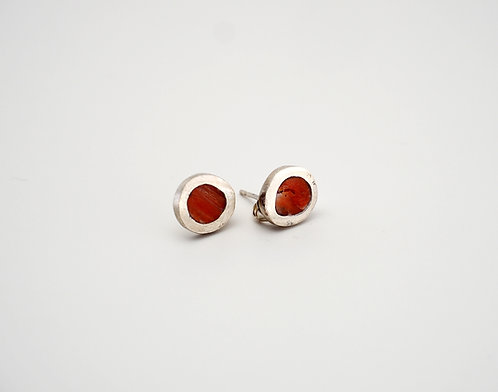 Circle Earrings = red spiny oyster shell / KSJ - Kendra Studio Jewellery
