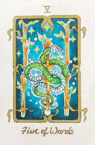 """Five of Wands"" Original Painting"
