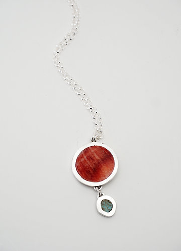 Circle Drop Pendant = red spiny oyster shell / KSJ - Kendra Studio Jewellery