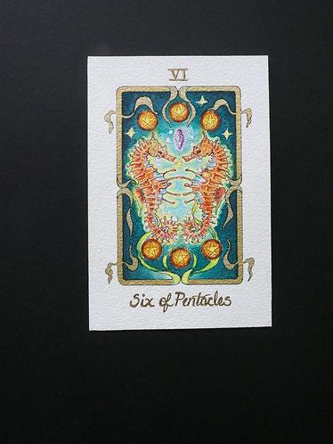 """Six of Pentacles"" Original Painting"